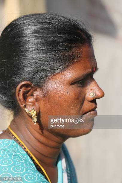 Portrait of a Tamil woman in a small village in Tamil Nadu India