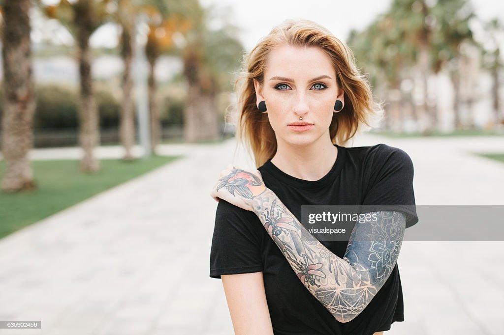 Portrait of a Tattooed Girl : Stock Photo