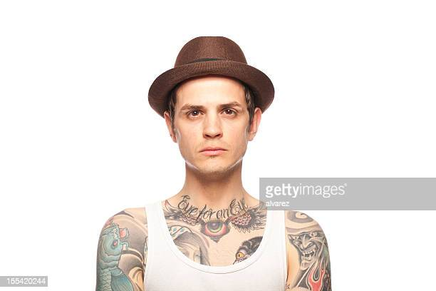 Portrait of a tattooed man