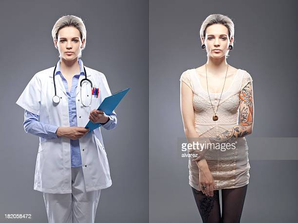 portrait of a tattooed person - multiple image stock pictures, royalty-free photos & images