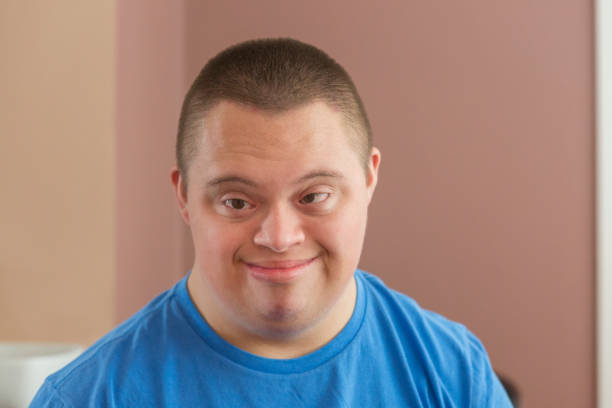 Portrait of a Teen boy with Down Syndrome