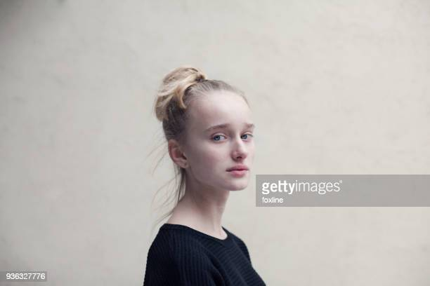 portrait of a teenage girl - vulnerability stock pictures, royalty-free photos & images