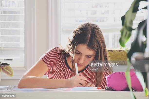 Portrait of a Teenage girl sitting at table doing homework