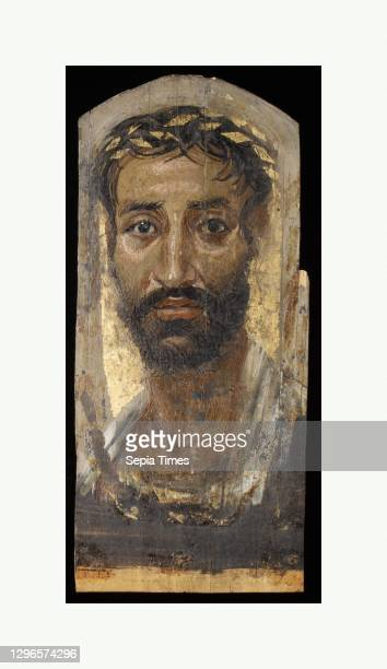 Portrait of a thin-faced man, Roman Period, A.D. 140–170, From Egypt, Encaustic, limewood, gold leaf, H. 42.3 × W. 18.7 cm , This man's intent,...