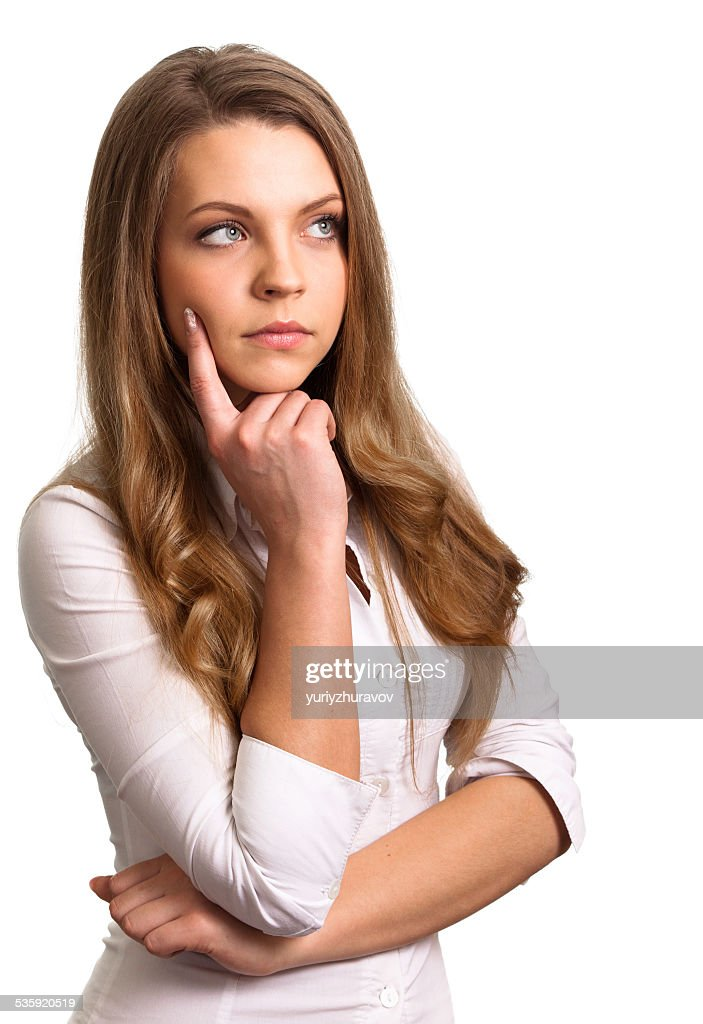 Portrait of a thinking woman looking on copyspace : Stock Photo