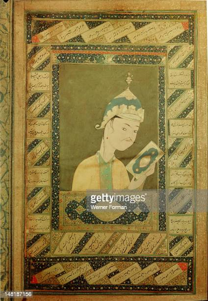 A portrait of a Timourid prince holding a book with illuminated margins Although undated and unsigned it is thought to be by a Herat painter of the...