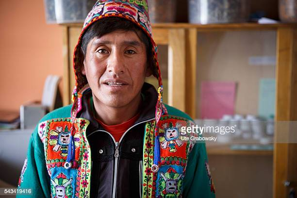 Portrait of a traditional healer in the Andes of Bolivia on April 15 2016 in Sacaca Bolivia
