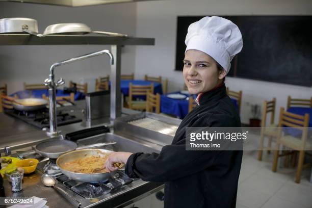 Portrait of a trainee as a cook in a vocational school in Kamza Albania on March 28 2017 in Kamza Albania