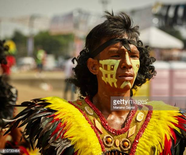portrait of a tribesman at festival - dinagyang festival stock photos and pictures