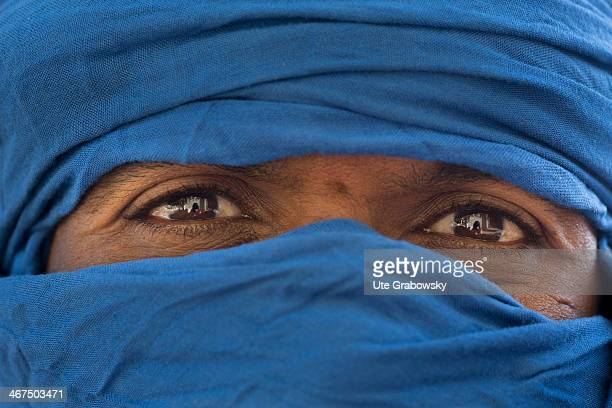 Portrait of a Tuareg Man wearing a blue turban on December 07 in Niamey, Niger. The Tuareg are a Berber people with a traditionally nomadic...