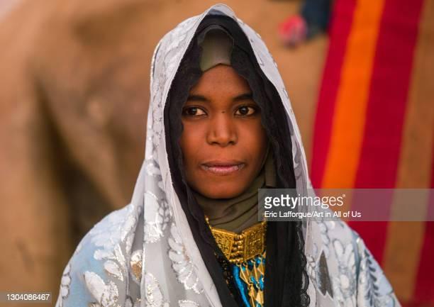 Portrait of a tuareg woman in traditionnal clothing, Tripolitania, Ghadames, Libya on October 29, 2007 in Ghadames, Libya.