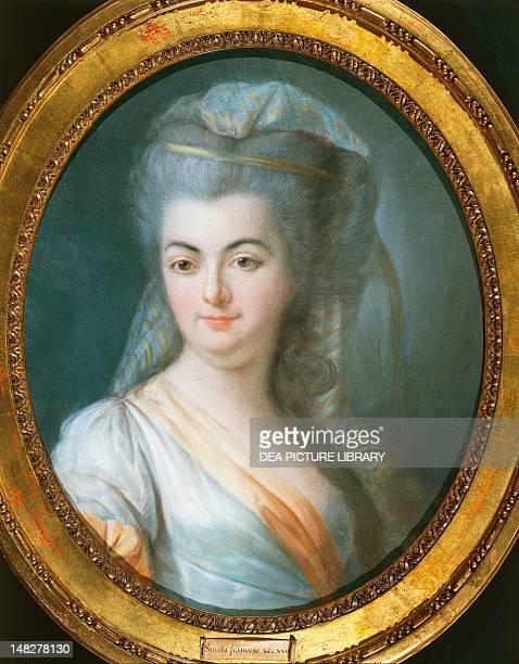 Portrait of a veiled woman by Louis Michel van Loo pastel on parchment Rome Museo Di Palazzo Venezia