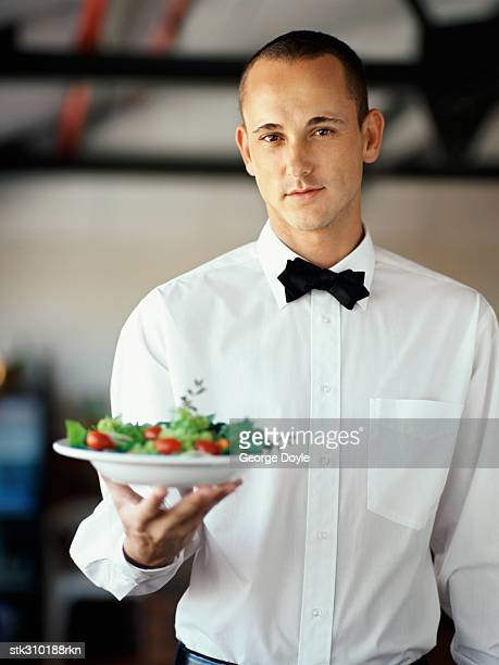 portrait of a waiter holding salad in a plate