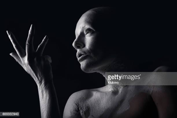 portrait of a white human - bald woman stock photos and pictures