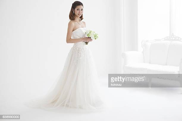 Portrait of a white wedding dress.
