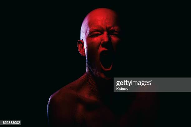 portrait of a white/red human - hell stock pictures, royalty-free photos & images