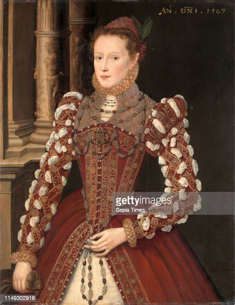 Portrait of a Woman A Young Lady, dated 1567 Dated in yellow paint, upper right: 'AN. DNI. 1567', unknown artist, 16th century, British