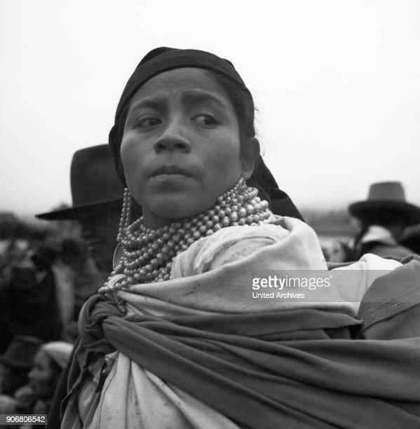 Portrait of a woman at the city of Otavolo Ecuador 1960