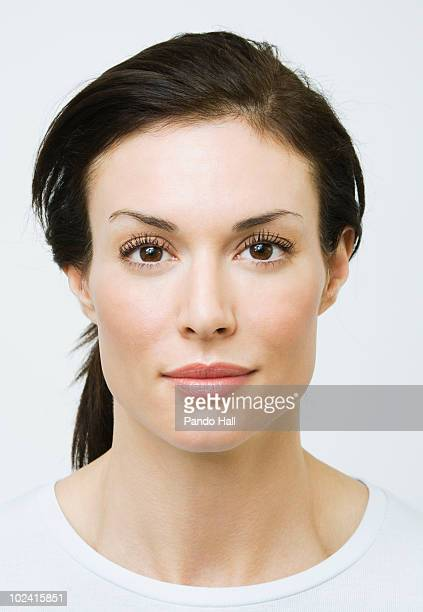 portrait of a woman, close-up - hair back stock pictures, royalty-free photos & images