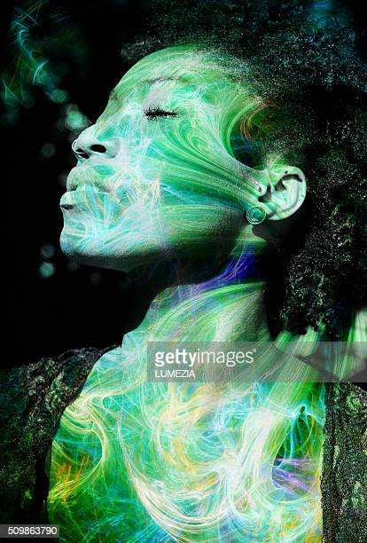Portrait of a woman combined with the fractal