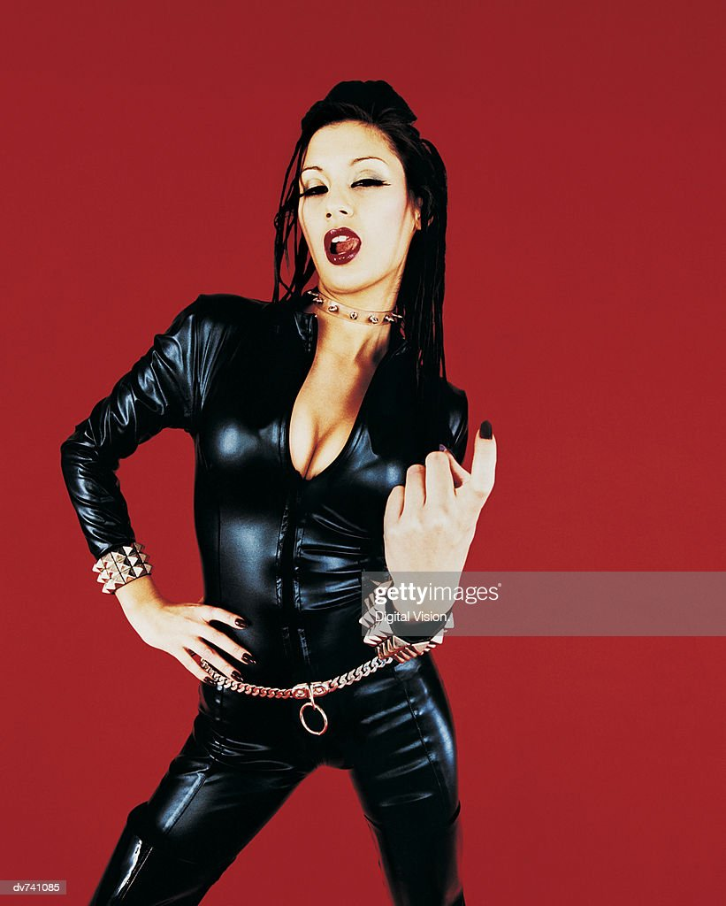 Portrait of a Woman Dressed in a Catsuit : Bildbanksbilder