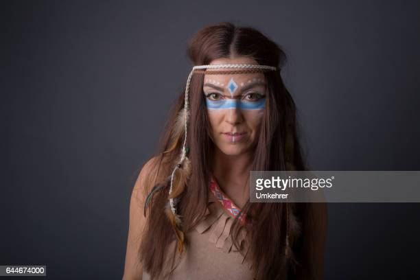 Portrait of a woman dressed up as an indian