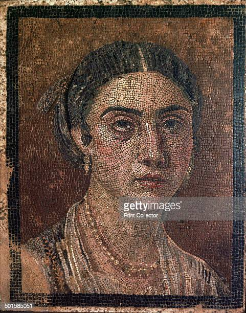 Portrait of a woman from a Roman floor mosaic from Pompeii 1st century