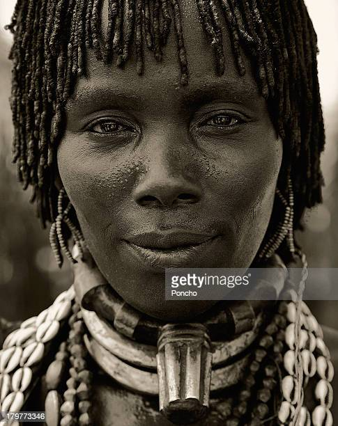 Portrait of a woman from the Hamer Tribe