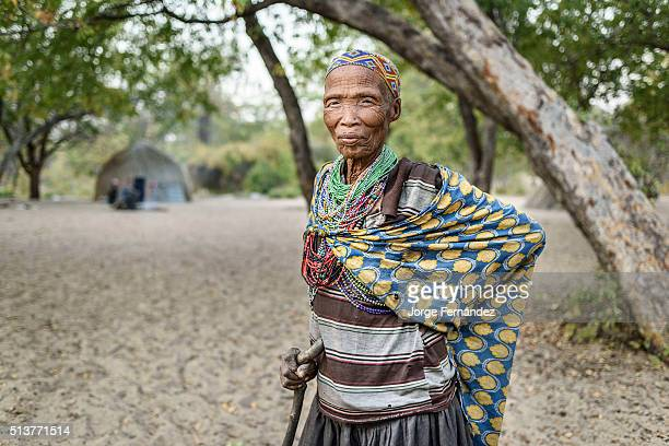 Portrait of a woman from the San tribe in a remote part of the Kalahari desert