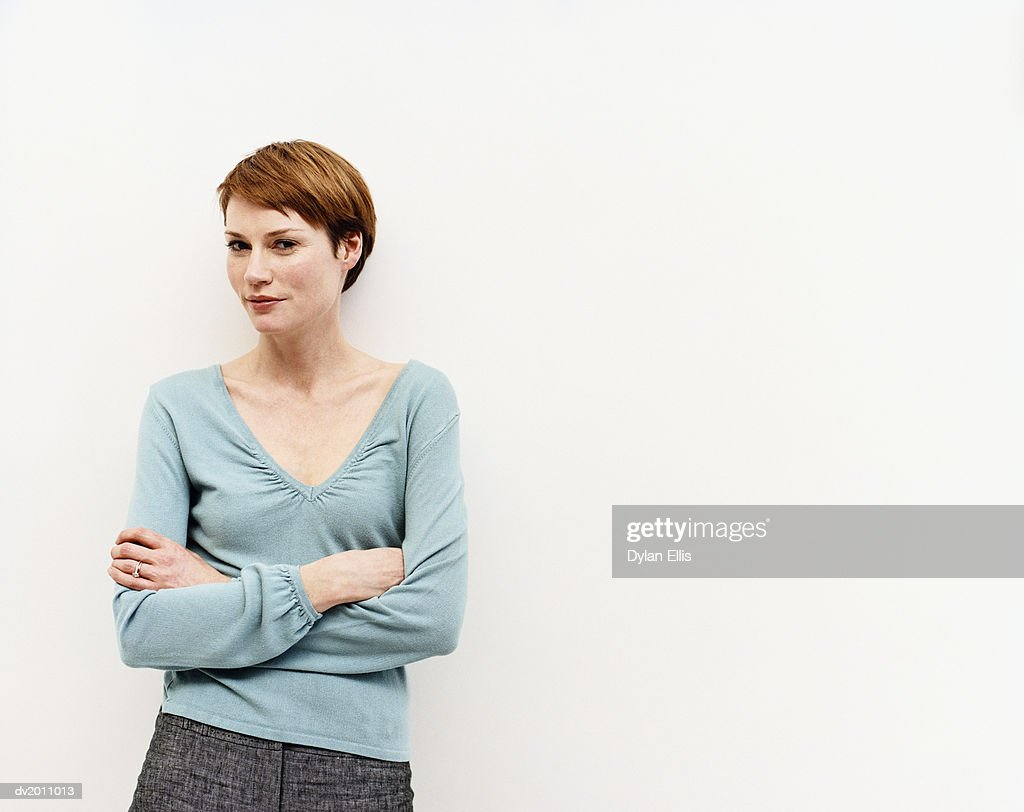 Portrait of a Woman Her Arms Crossed : Stock Photo