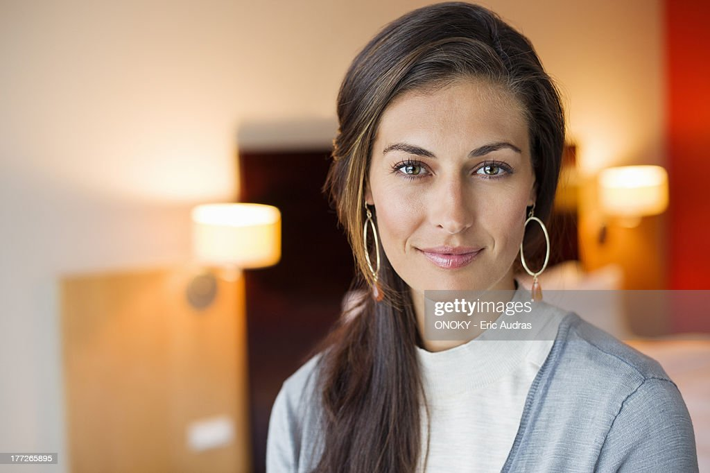 Portrait of a woman in a hotel room : Stock-Foto