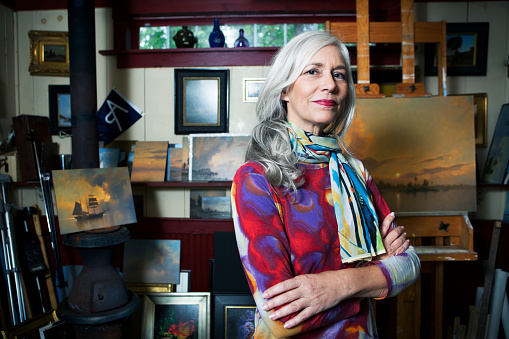 Portrait of a woman in her artist studio. - gettyimageskorea