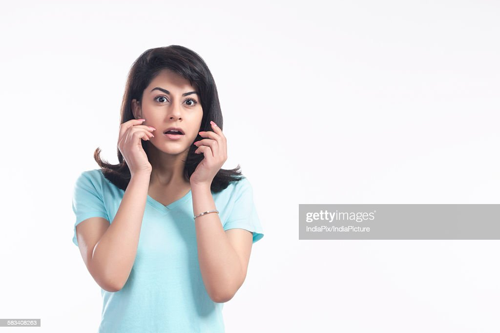 Portrait of a woman in shock : Stock Photo