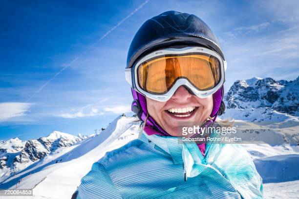 portrait of a woman in snow - ski goggles stock pictures, royalty-free photos & images