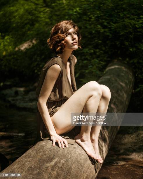 portrait of a woman in the forest - images stock pictures, royalty-free photos & images