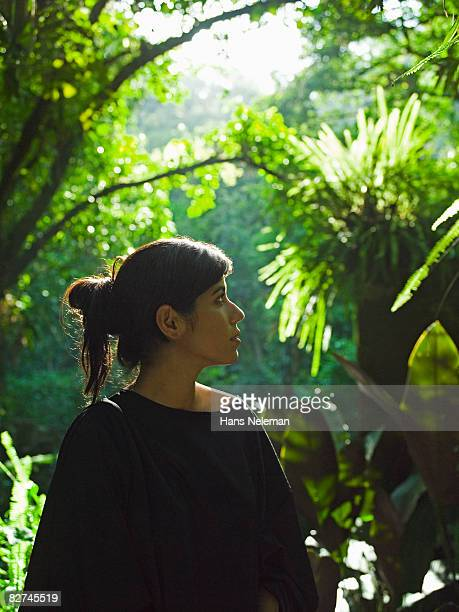 portrait of a woman in the forest - las posas stock pictures, royalty-free photos & images