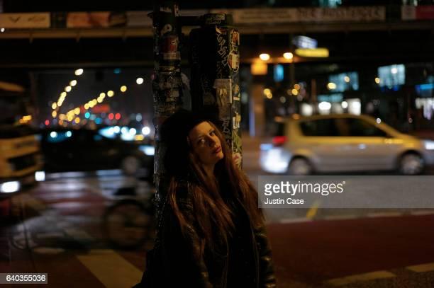 portrait of a woman in urban night scene