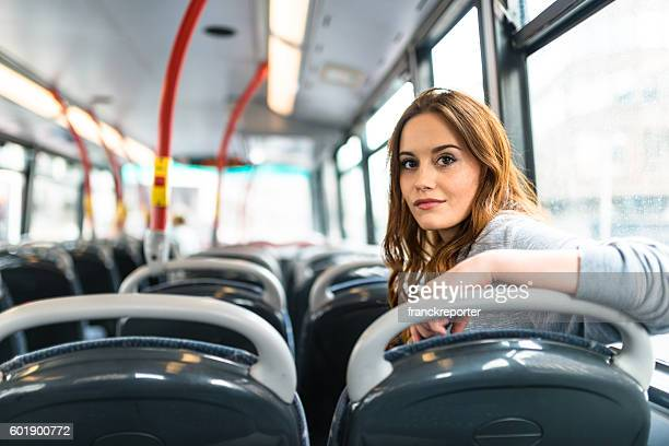 portrait of a woman inside a bus in london