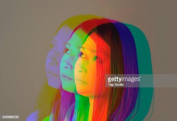 portrait of a woman made of multiple exposure - digital composite stock-fotos und bilder