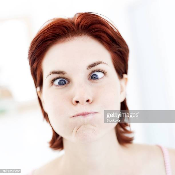 portrait of a woman making a funny face