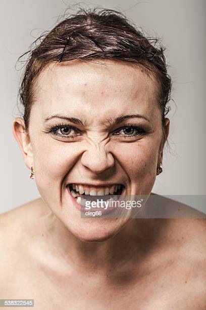 portrait of a woman - bad teeth stock photos and pictures