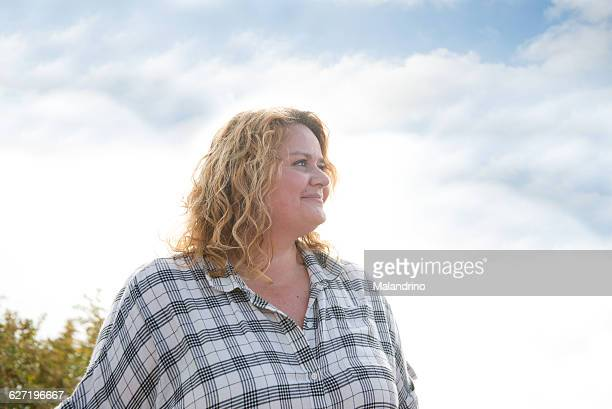 portrait of a woman - fat blonde women stock photos and pictures