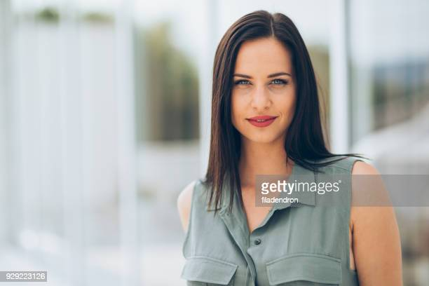 portrait of a woman - straight hair stock pictures, royalty-free photos & images