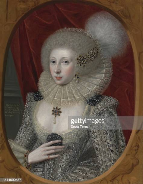 Portrait of a Woman, possibly Elizabeth Pope , Robert Peake the Elder, ca. 1551–1619, British, ca. 1615, Oil on canvas, Support : 30 × 23 1/4 inches...