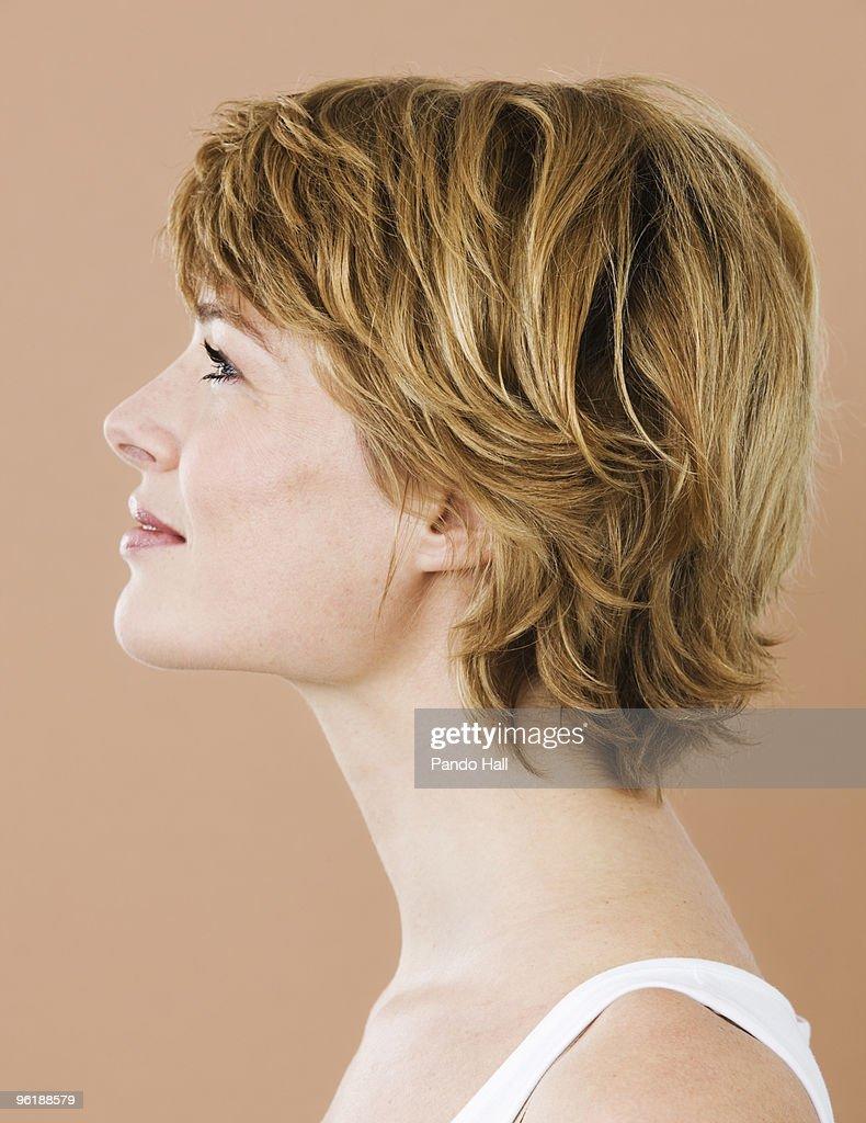 Portrait of a woman, side view : Stock-Foto