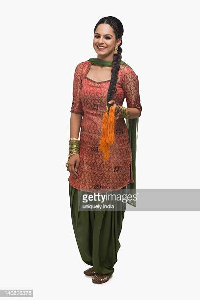 portrait of a woman smiling - salwar kameez stock pictures, royalty-free photos & images