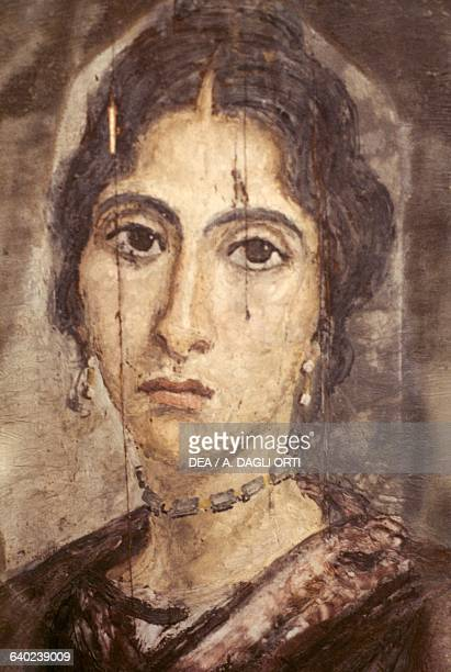 Portrait of a woman tempera painting on wood from El Fayyum Egyptian civilization Roman Period 4th century