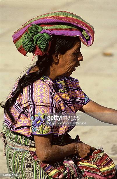 Portrait of a woman wearing a traditional headdress in Cantel Guatemala
