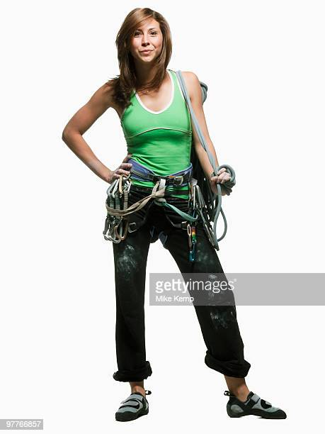 Portrait of a woman with climbing gear