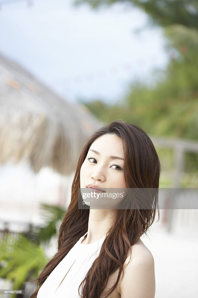 Portrait of a Woman With Long Brown Hair : Stock Photo